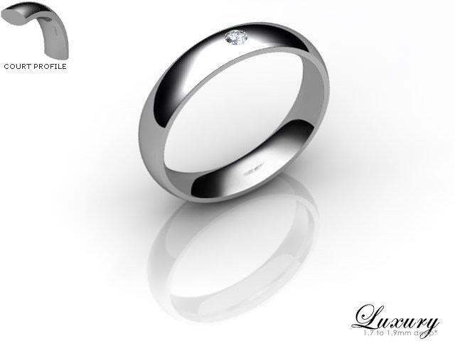 Women's Single Diamond Platinum 4mm. Court Wedding Ring