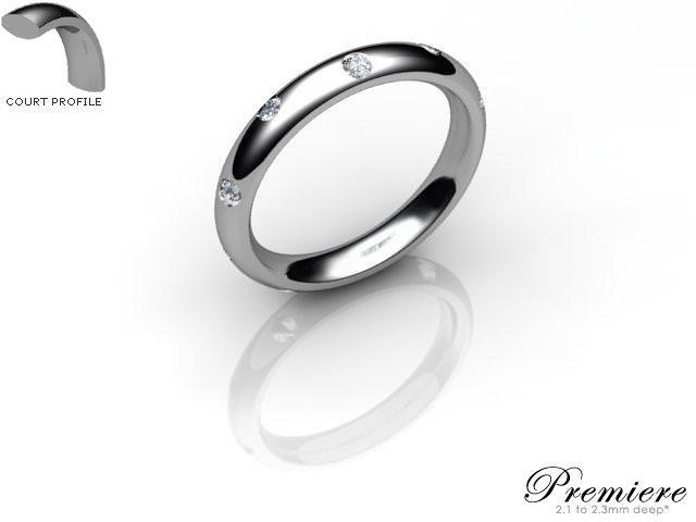 Women's Diamond Scatter Platinum 3mm. Court Wedding Ring