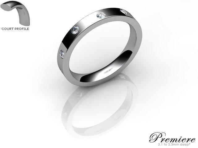Men's Diamond Scatter Platinum 3mm. Flat-Court Wedding Ring