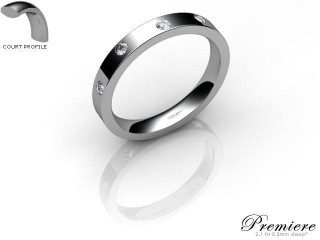 Women's Diamond Scatter Platinum 3mm. Flat-Court Wedding Ring-PLAT25D-3FCXL