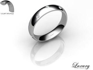 Women's Diamond Scatter Platinum 4mm. Court Wedding Ring-PLAT25D-4CHL