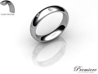 Women's Diamond Scatter Platinum 4mm. Court Wedding Ring-PLAT25D-4CXL