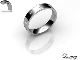 Men's Diamond Scatter Platinum 4mm. Flat-Court Wedding Ring-PLAT25D-4FCHG