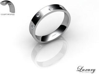 Women's Diamond Scatter Platinum 4mm. Flat-Court Wedding Ring-PLAT25D-4FCHL