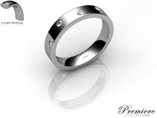 Women's Diamond Scatter Platinum 4mm. Flat-Court Wedding Ring-PLAT25D-4FCXL