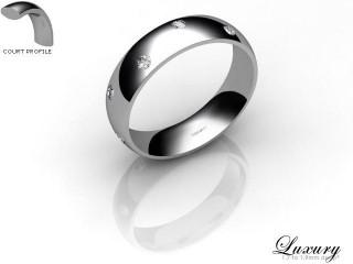 Women's Diamond Scatter Platinum 5mm. Court Wedding Ring-PLAT25D-5CHL