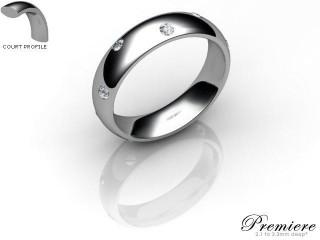 Women's Diamond Scatter Platinum 5mm. Court Wedding Ring-PLAT25D-5CXL