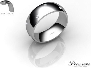 Men's Diamond Scatter Platinum 7mm. Court Wedding Ring-PLAT25D-7CXG