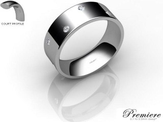 Men's Diamond Scatter Platinum 7mm. Flat-Court Wedding Ring-PLAT25D-7FCXG