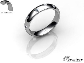 Women's Diamond Scatter Platinum 4mm. Court Wedding Ring-PLAT25R-4CXL