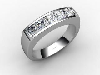 Half-Set Channel-Set Diamond Platinum 6.0mm. Wedding Ring-W88-01019