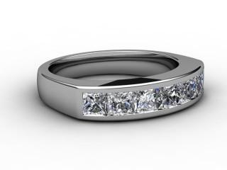 Half-Set Channel-Set Diamond Platinum 5.0mm. Wedding Ring-W88-01020