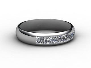 Half-Set Channel-Set Diamond Platinum 4.0mm. Wedding Ring-W88-01029