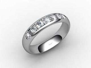 Half-Set Channel-Set Diamond Platinum 4.0mm. Wedding Ring-W88-01032