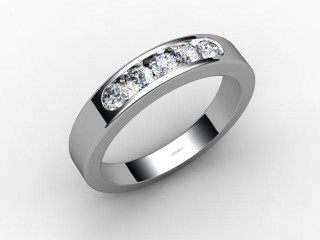 Half-Set Channel-Set Diamond Platinum 5.0mm. Wedding Ring-W88-01036