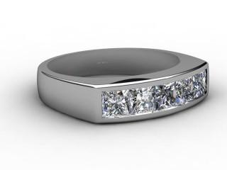 Half-Set Channel-Set Diamond 18ct. White Gold 6.0mm. Wedding Ring-W88-05019