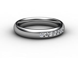 Half-Set Channel-Set Diamond 18ct. White Gold 4.0mm. Wedding Ring-W88-05028