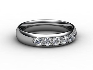 Half-Set Channel-Set Diamond 18ct. White Gold 4.0mm. Wedding Ring-W88-05032