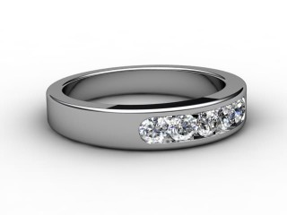 Half-Set Channel-Set Diamond 18ct. White Gold 5.0mm. Wedding Ring-W88-05036