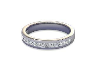 Half-Set Diamond Wedding Ring in Platinum: 3.4mm. wide with Princess Channel-set Diamonds-W88-01003.34