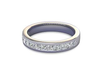 Half-Set Diamond Wedding Ring in Platinum: 3.7mm. wide with Princess Channel-set Diamonds-W88-01003.37