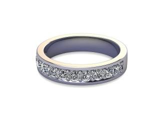 Half-Set Diamond Wedding Ring in Platinum: 4.1mm. wide with Round Milgrain-set Diamonds-W88-01007.41