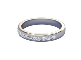Half-Set Diamond Wedding Ring in Platinum: 3.2mm. wide with Round Channel-set Diamonds-W88-01008.32