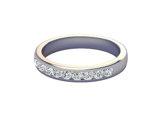 Half-Set Diamond Wedding Ring in Platinum: 3.3mm. wide with Round Channel-set Diamonds-W88-01008.33