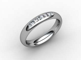 Half-Set Channel-Set Diamond Platinum 4.0mm. Wedding Ring