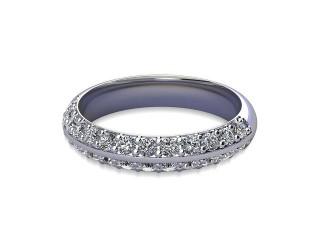 Half-Set Diamond Wedding Ring in Platinum: 4.0mm. wide with Round Milgrain-set Diamonds-W88-01043.40