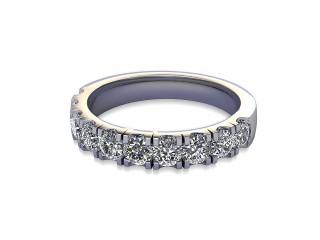 Half-Set Diamond Wedding Ring in Platinum: 3.1mm. wide with Round Split Claw Set Diamonds-W88-01045.31