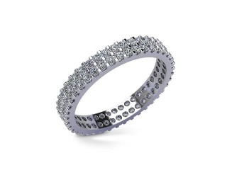Full-Set Diamond Wedding Ring in Platinum: 3.1mm. wide with Round Shared Claw Set Diamonds