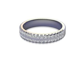 Half-Set Diamond Wedding Ring in Platinum: 3.8mm. wide with Round Milgrain-set Diamonds-W88-01208.38