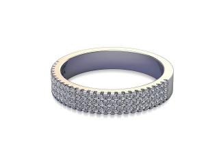 Half-Set Diamond Wedding Ring in Platinum: 3.6mm. wide with Round Milgrain-set Diamonds-W88-01211.36