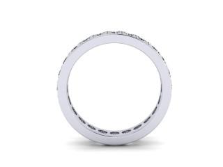 Full-Set Diamond Wedding Ring in Platinum: 4.1mm. wide with Round Milgrain-set Diamonds