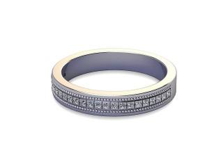 Half-Set Diamond Wedding Ring in Platinum: 3.5mm. wide with Round Milgrain-set Diamonds-W88-01306.35