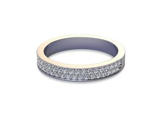 Half-Set Diamond Wedding Ring in Platinum: 3.2mm. wide with Round Milgrain-set Diamonds-W88-01307.32