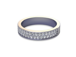 Half-Set Diamond Wedding Ring in Platinum: 4.0mm. wide with Round Milgrain-set Diamonds-W88-01307.40