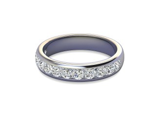 Half-Set Diamond Wedding Ring in Platinum: 4.0mm. wide with Round Channel-set Diamonds-W88-01309.40