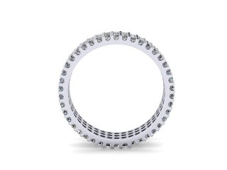 Full-Set Diamond Wedding Ring in Platinum: 4.7mm. wide with Round Shared Claw Set Diamonds