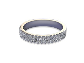 Half-Set Diamond Wedding Ring in Platinum: 3.2mm. wide with Round Shared Claw Set Diamonds-W88-01334.32
