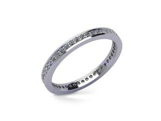 Full-Set Diamond Wedding Ring in Platinum: 2.2mm. wide with Round Milgrain-set Diamonds