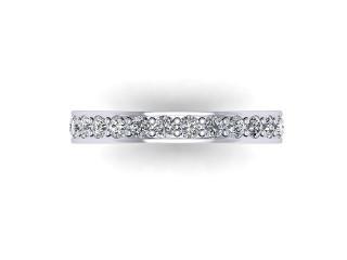 Full-Set Diamond Wedding Ring in Platinum: 3.1mm. wide with Round Milgrain-set Diamonds