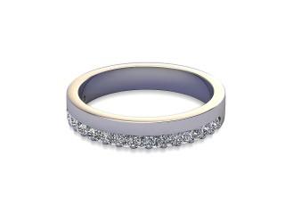 Half-Set Diamond Wedding Ring in Platinum: 3.5mm. wide with Round Shared Claw Set Diamonds-W88-01356.35