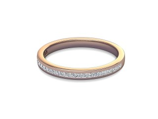 Half-Set Diamond Wedding Ring in 18ct. Rose Gold: 2.2mm. wide with Princess Channel-set Diamonds-W88-04003.22