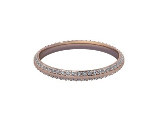 Full-Set Diamond Wedding Ring in 18ct. Rose Gold: 2.2mm. wide with Round Milgrain-set Diamonds-W88-04042.22