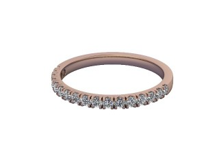 Half-Set Diamond Wedding Ring in 18ct. Rose Gold: 1.9mm. wide with Round Split Claw Set Diamonds-W88-04045.19