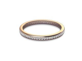 Full-Set Diamond Wedding Ring in 18ct. Rose Gold: 2.0mm. wide with Round Channel-set Diamonds-W88-04308.20