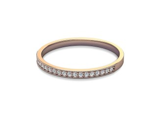Half-Set Diamond Wedding Ring in 18ct. Rose Gold: 1.8mm. wide with Round Milgrain-set Diamonds-W88-04310.18