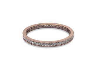 Full-Set Diamond Wedding Ring in 18ct. Rose Gold: 1.8mm. wide with Round Milgrain-set Diamonds-W88-04335.18